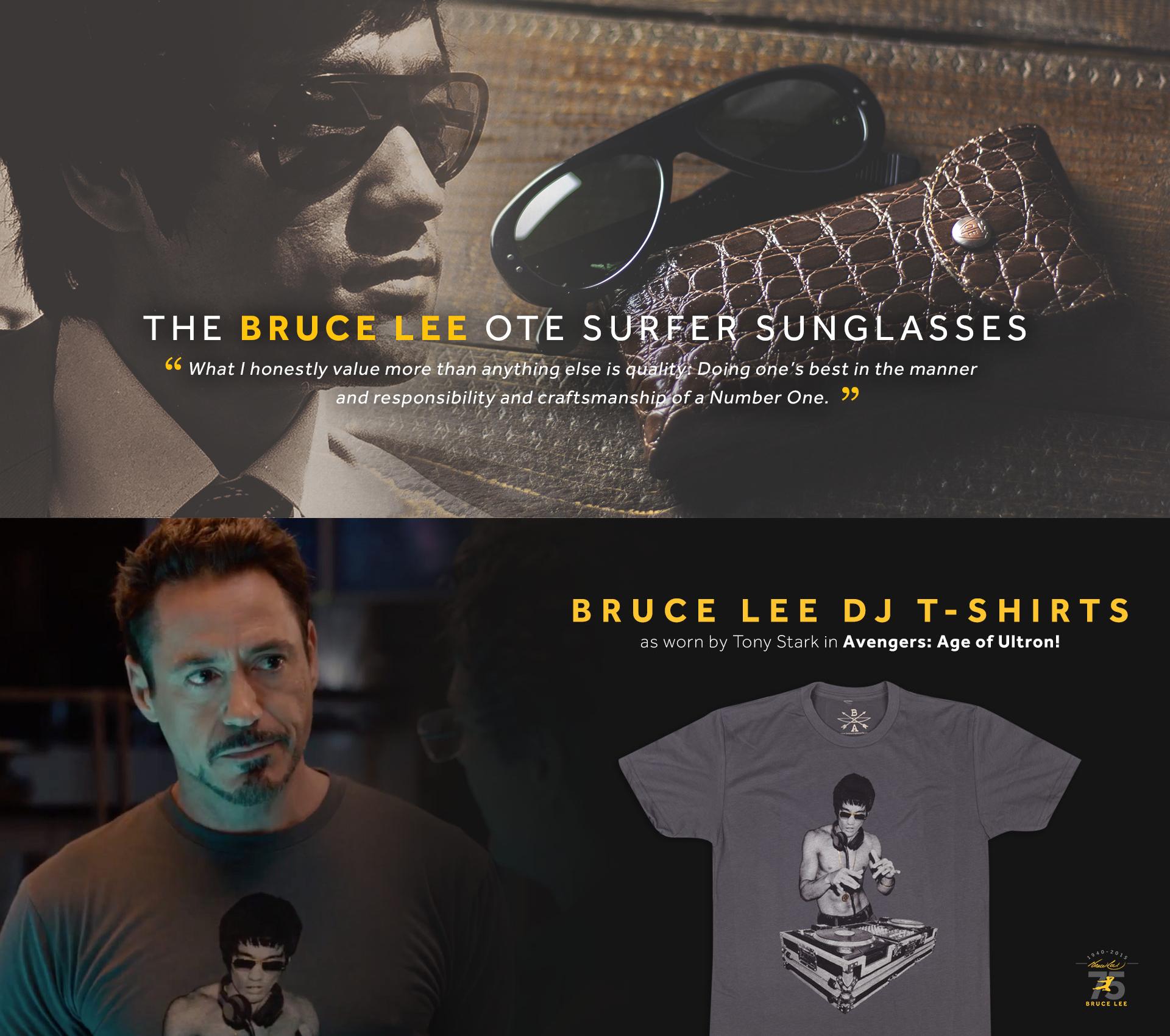 Lunette de Bruce Lee et t-shirt en son hommage